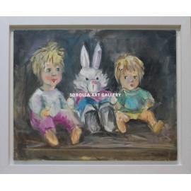 Niños y conejo