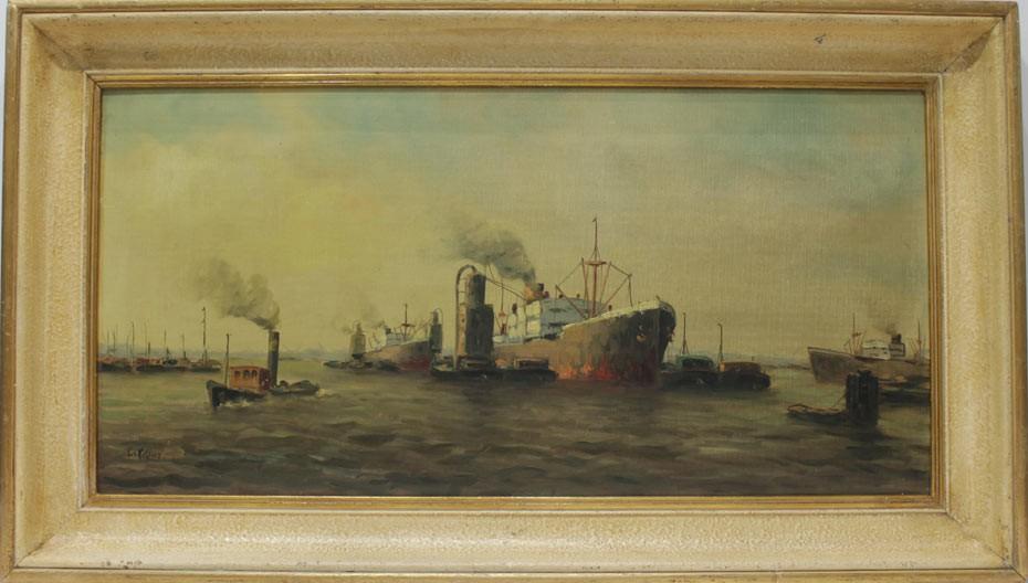 Escuela Holandesa: Vista de puerto