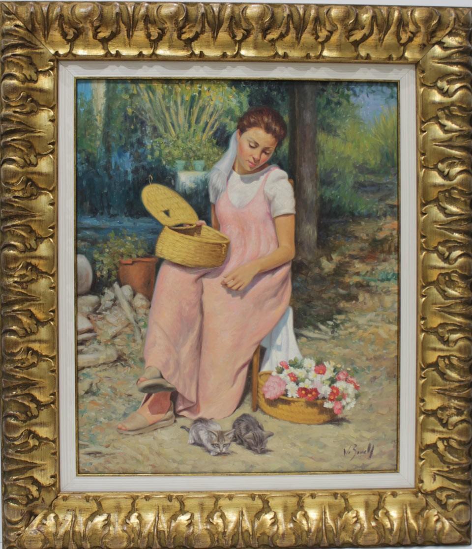 J. Borrell: Niña con flores