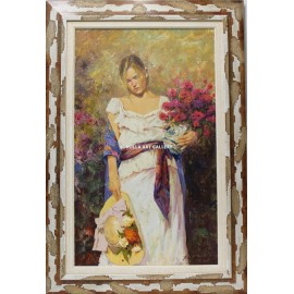 Román Francés: Woman with bouquet of flowers