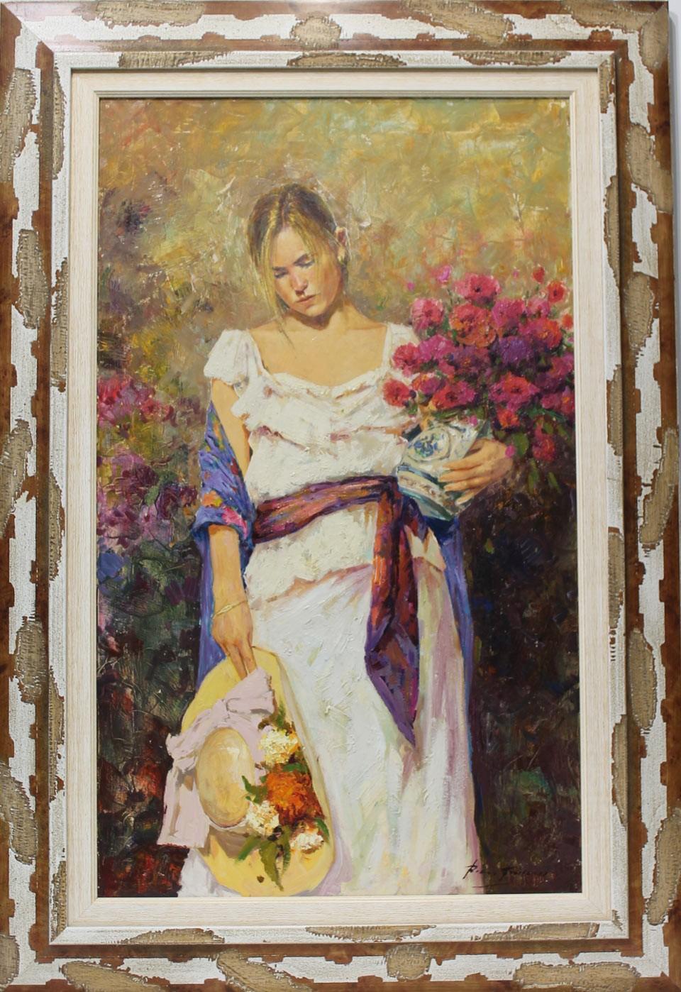 Román Francés: Mujer con ramo de flores