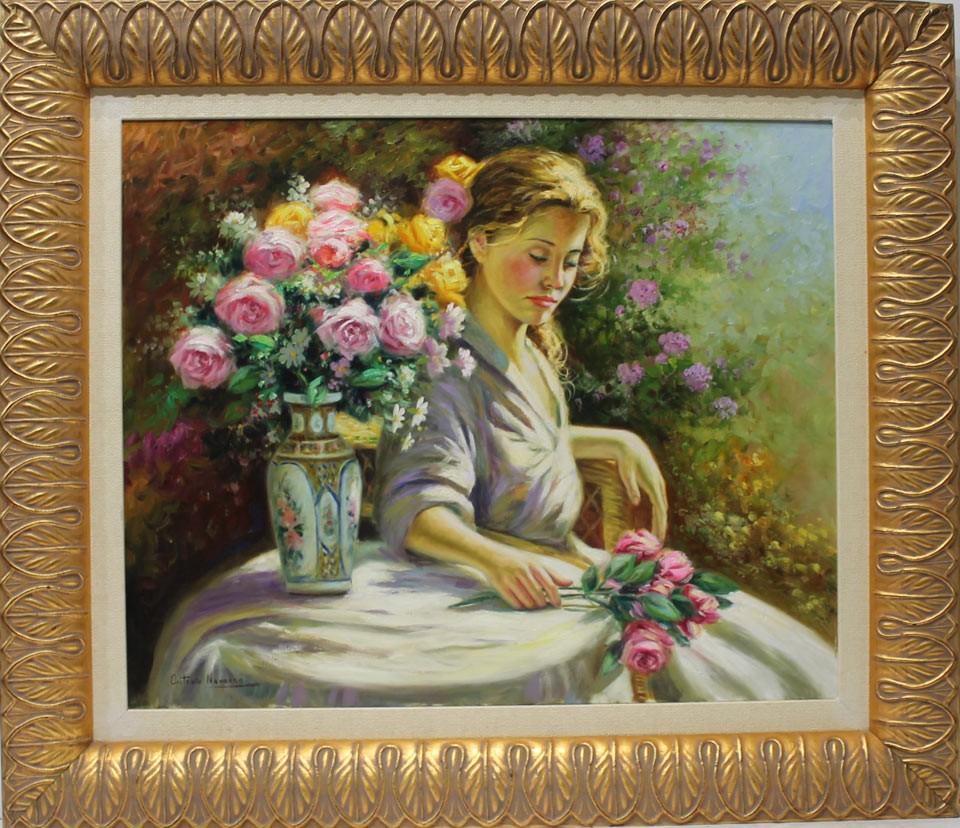 Antonio Navarro: Mujer con rosas