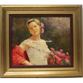 Mujer con claveles