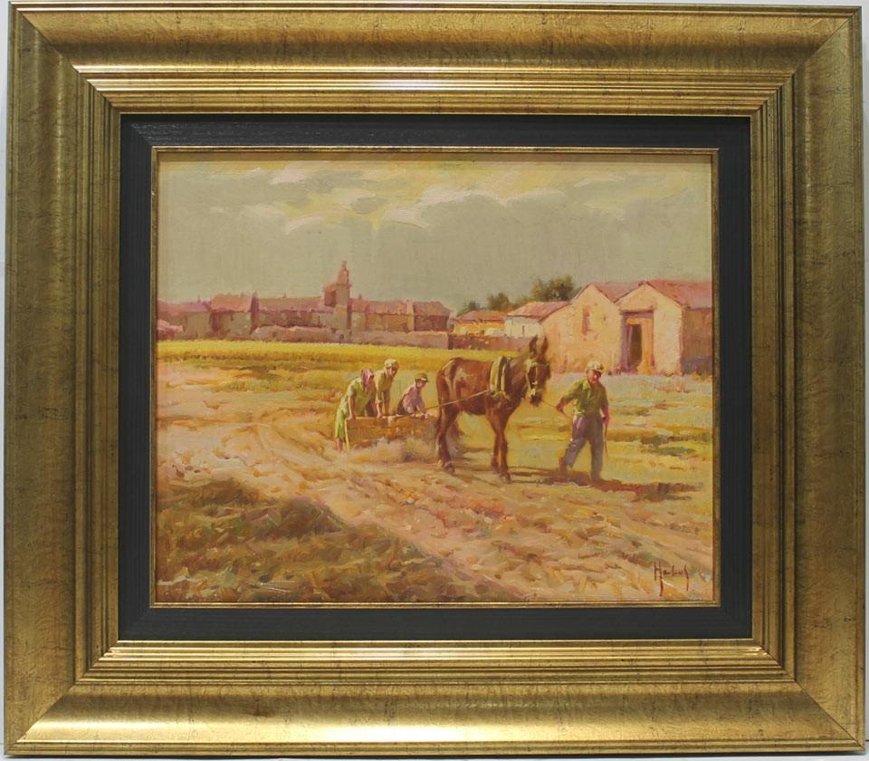 Helios Gisbert: Arando con el mulo