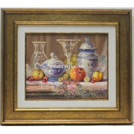 Bodegón de frutas y jarrones