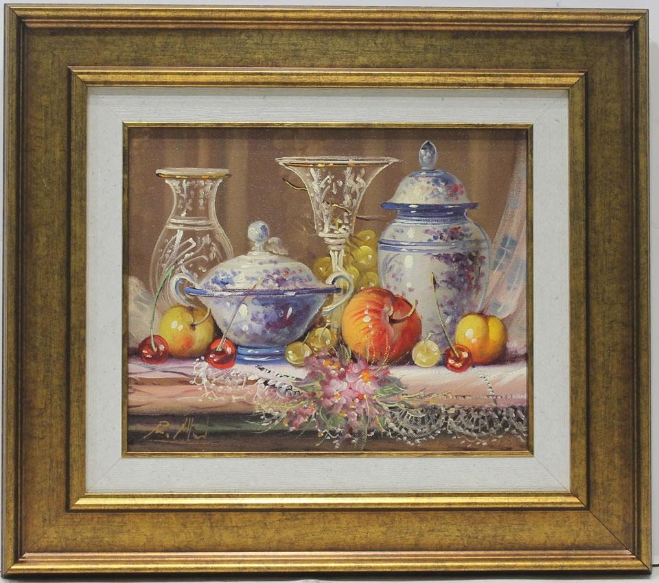 Michel: Bodegón de frutas y jarrones