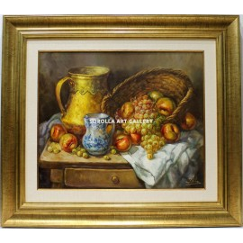 Still life of yellow pot