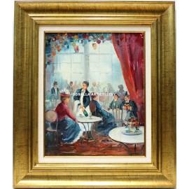 La mujer y el camarero