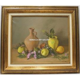 Bodegón vasija y frutas