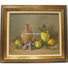 Still life vessel and fruits