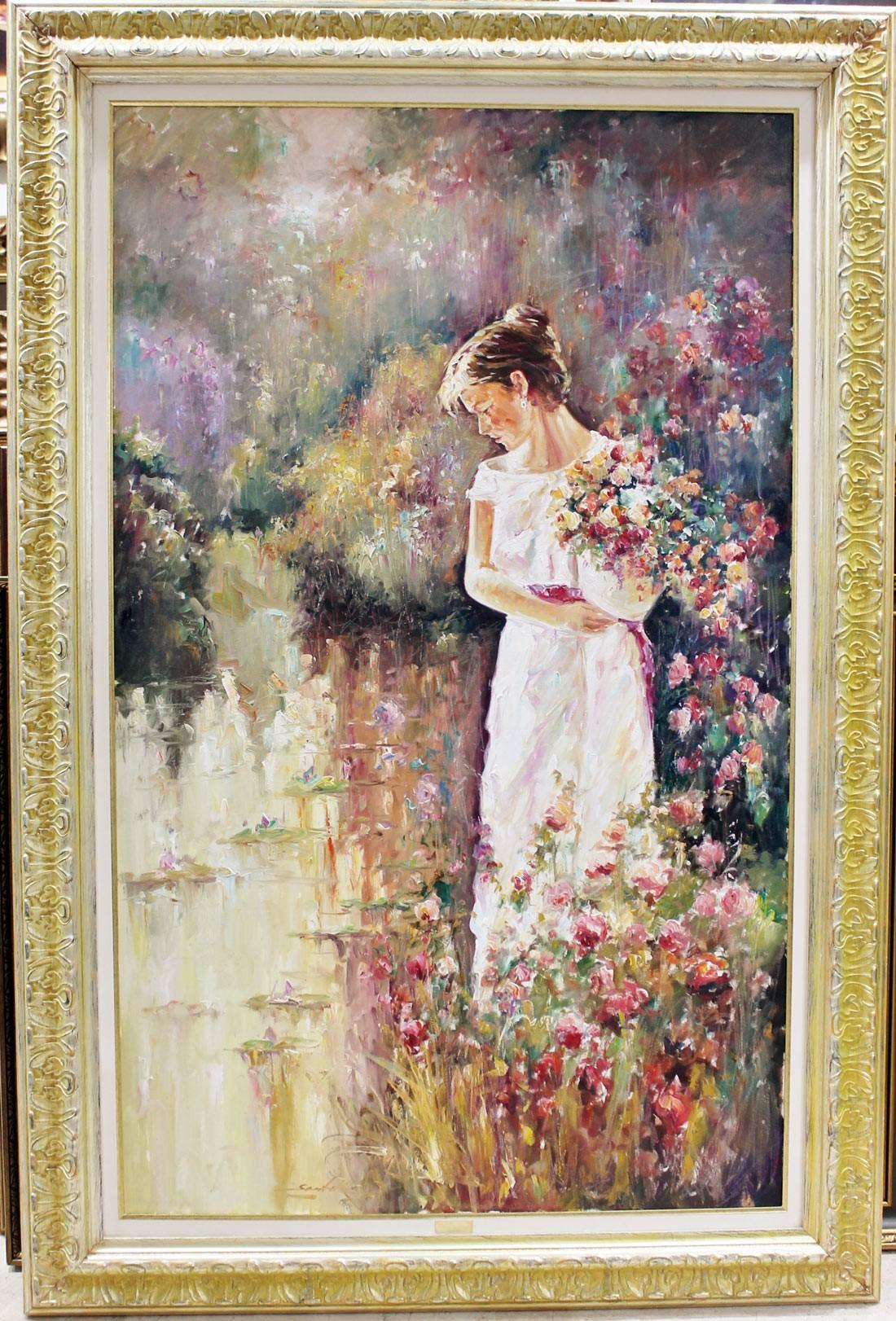 Santillán: Mujer con cesta de flores
