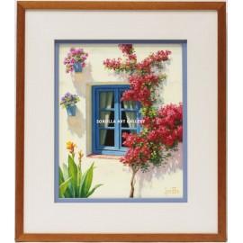 Blue window with bougainvillea