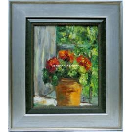 Rosa María: Flowerpot and geraneos