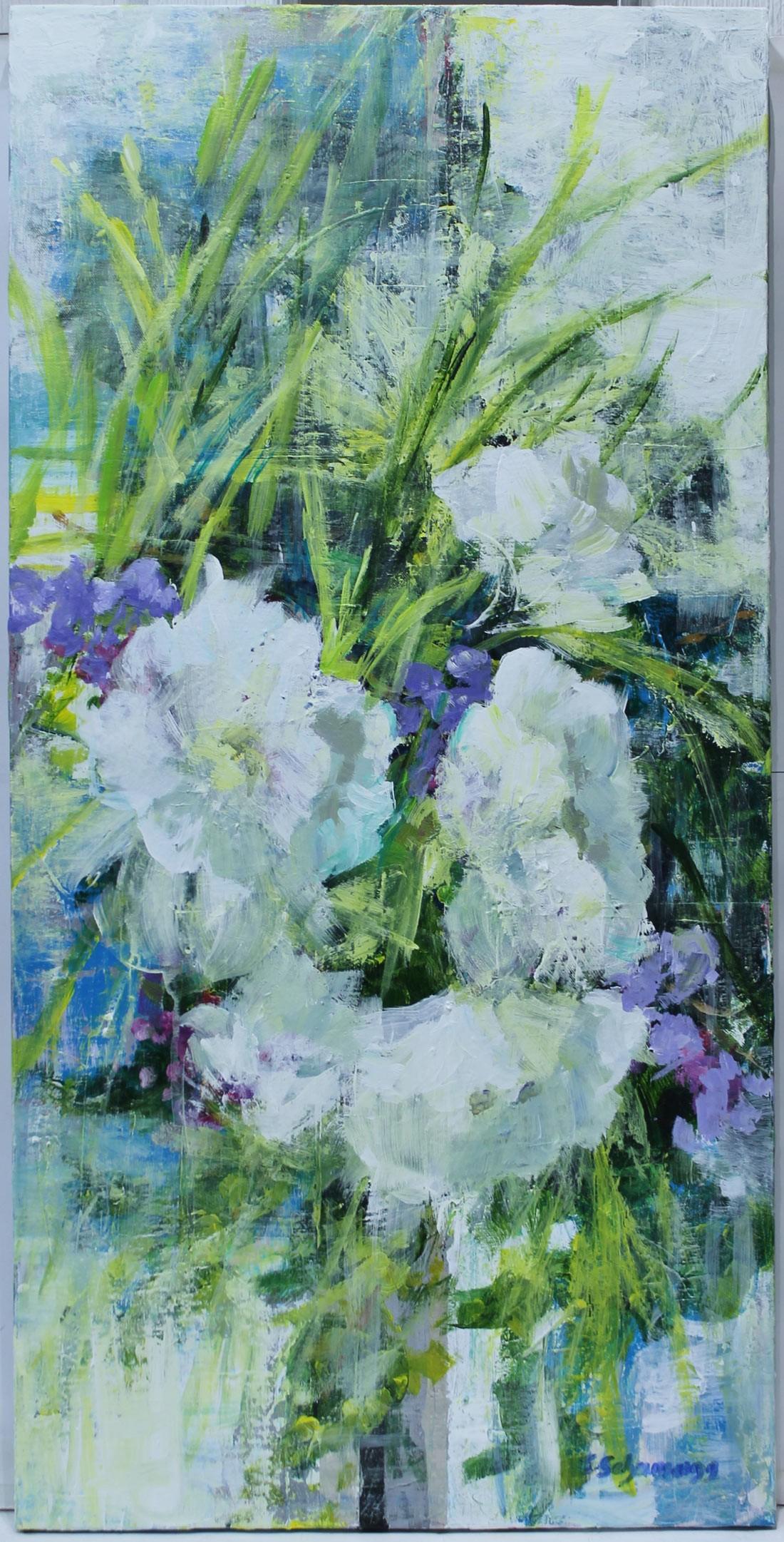 Carmen Schamann: Flores blancas y malvas