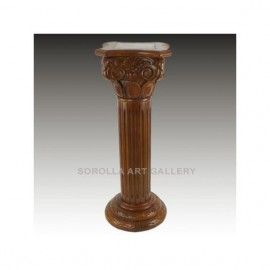 Walnut pedestal with Marble - 91cm Square Chapiter