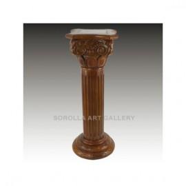 Pedestals: Walnut pedestal with Marble - 91cm Square Chapiter