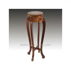 Tallas madera: Peana Nogal con mármol - Redonda 91cm