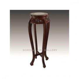 Tallas madera: Peana Cereza Oscuro con mármol - Redonda 91cm