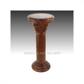 Tallas madera: Peana Nogal con mármol - Capitel Redondo 91cm