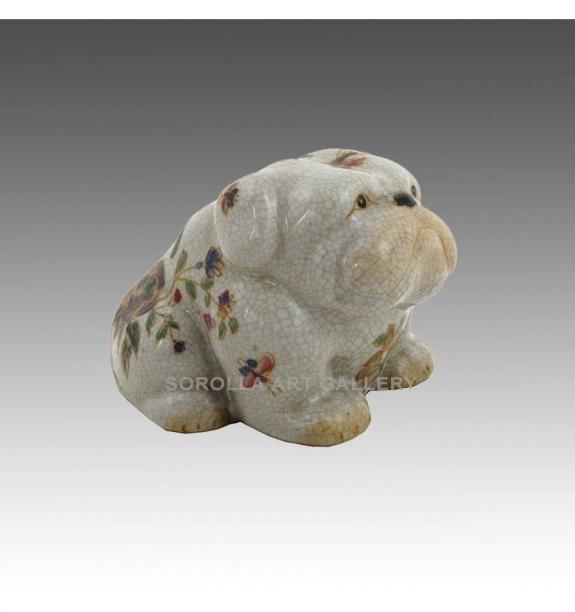 Porcelana decorada: Perro Bulldog sentado 9cm - Milex