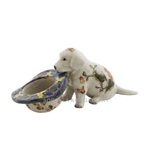 Porcelana decorada: Perro cachorro labrador 14cm - Milex