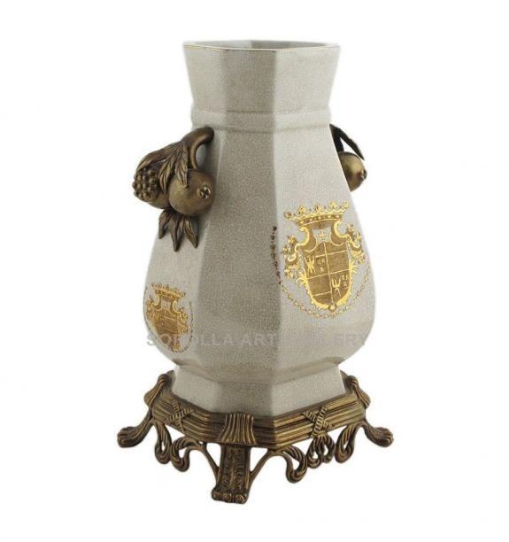 Porcelana decorada: Jarrón hexagonal 38cm - Infantas