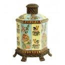Porcelana decorada: Tibor hexagonal 27cm - Imperial