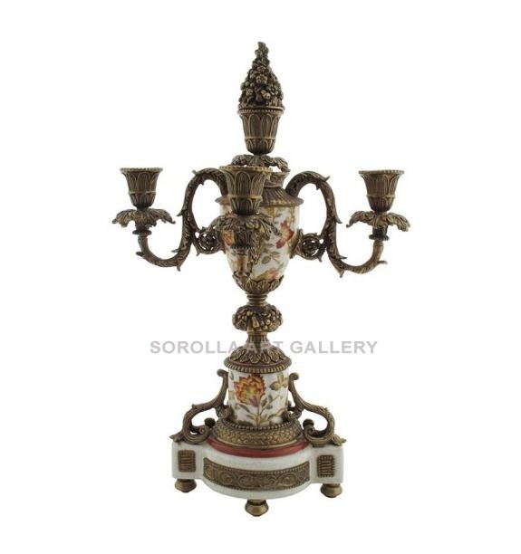 Porcelana decorada: Candelabro 5 luces 45cm - Hiti