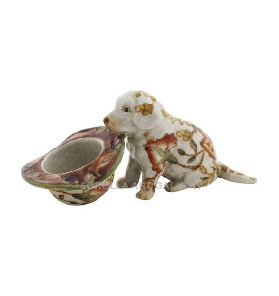 Porcelana decorada: Perro cachorro labrador 14cm - Hiti