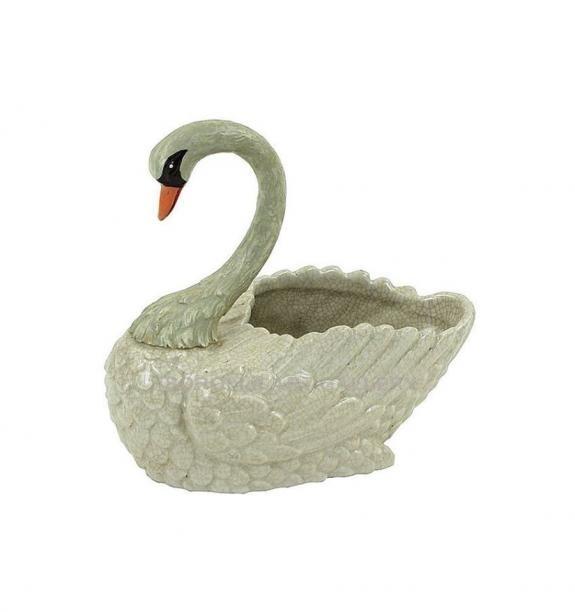 Porcelana decorada: Cisne jardinera 17cm - Blancocraquelado
