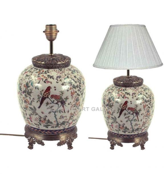 Porcelana decorada: Pie de lámpara tibor 39cm - Dosloros