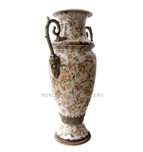 Porcelana decorada: Jarrón asas 92cm - Paraiso