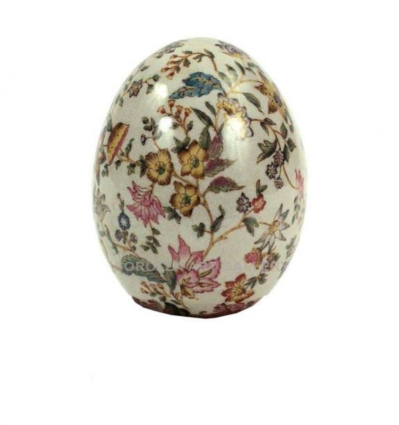 Porcelana decorada: Huevo 15cm - Paraiso