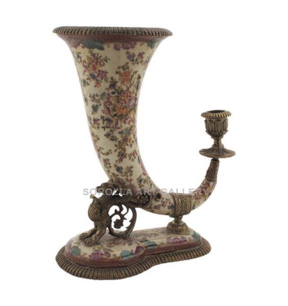 Porcelana decorada: Candelabro cuerno 1 luz 25cm - Delicia