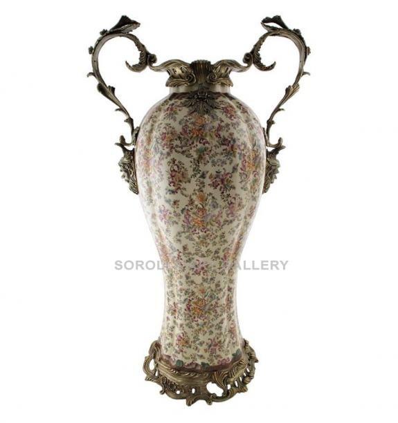 Porcelana decorada: Jarrón asas 80cm - Delicia