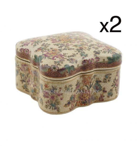Porcelana decorada: Caja mariposa 11cm (set de 2) - Delicia