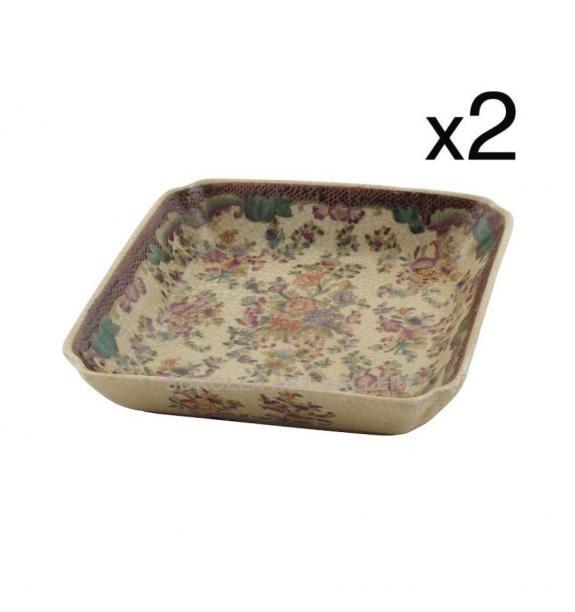 Porcelana decorada: Cuencos cuadrados 15cm (set de 2) - Delicia