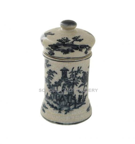 Porcelana decorada: Tarro botica 13cm - Edén