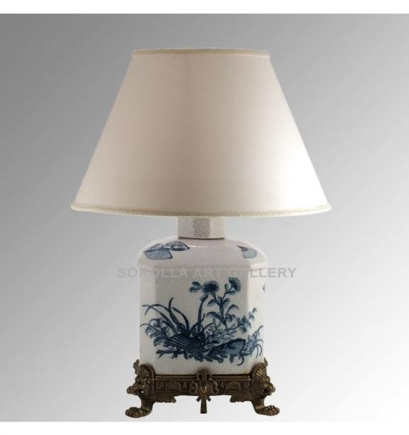 Porcelana decorada: Pie de lámpara botella 35cm - Abanico