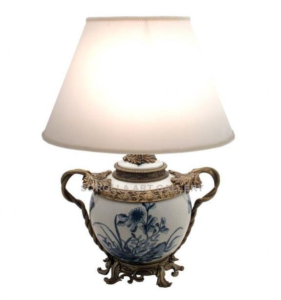 Porcelana decorada: Pie de lampara tibor asas 33cm - Abanico