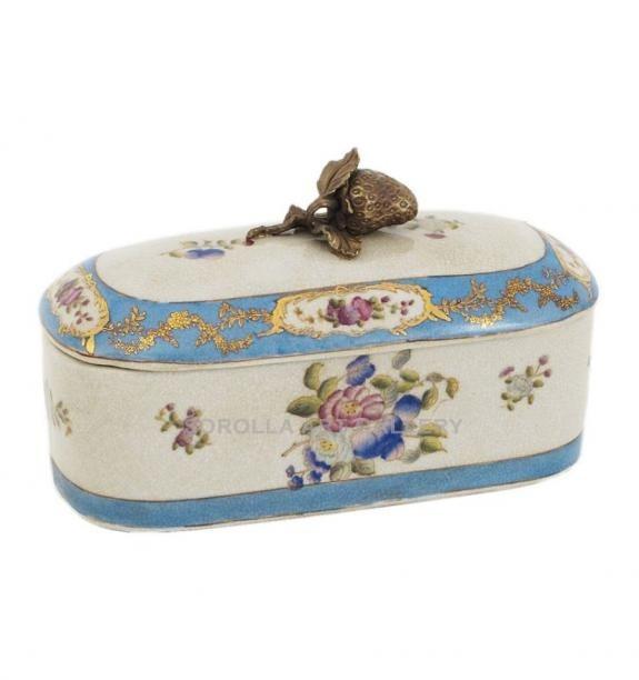 Porcelana decorada: Caja tapa asa fruta 22cm - Milady
