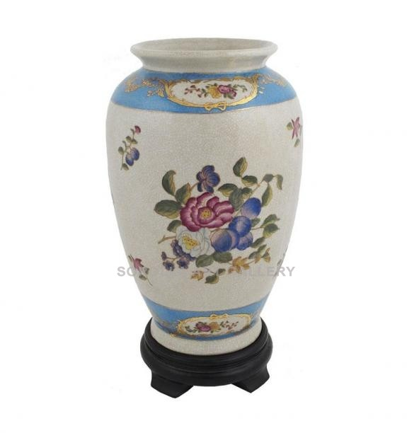 Porcelana decorada: Jarrón 32cm con peana - Milady