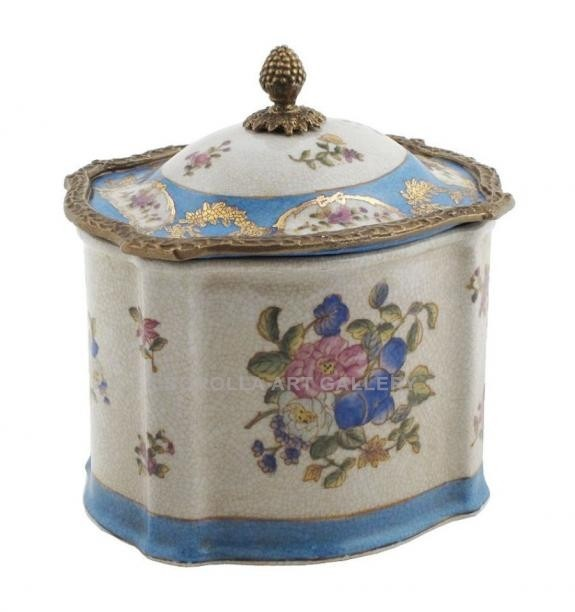 Porcelana decorada: Caja alta 16cm - Milady