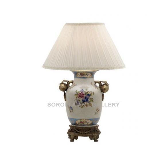 Porcelana decorada: Pie de lámpara asa fruta 28cm - Milady