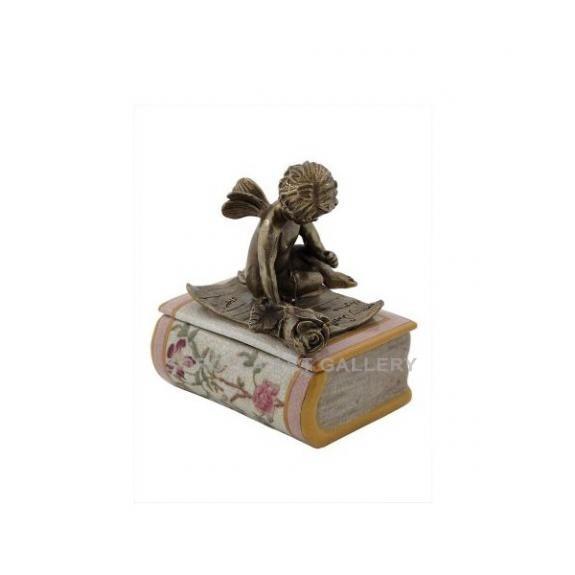 Porcelana decorada: Caja libro con ángel 14cm - Komachi