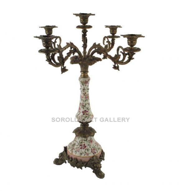 Porcelana decorada: Candelabro alto 5 luz 60cm - Komachi