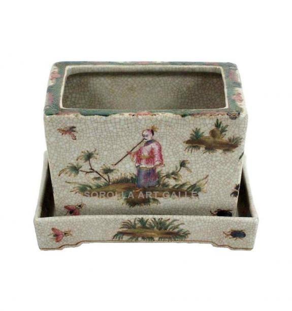Porcelana decorada: Macetero 15cm con bandeja - Confucio