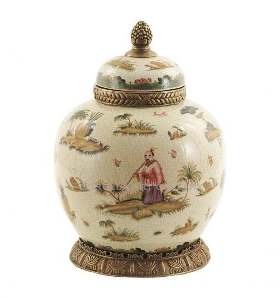 Porcelana decorada: Tibor redondo 33cm - Confucio