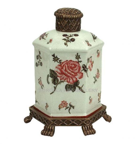 Porcelana decorada: Tibor botella 27cm - Rosa