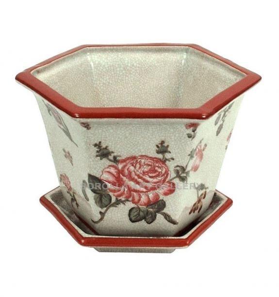 Porcelana decorada: Macetero alto + plato 19cm - Rosa